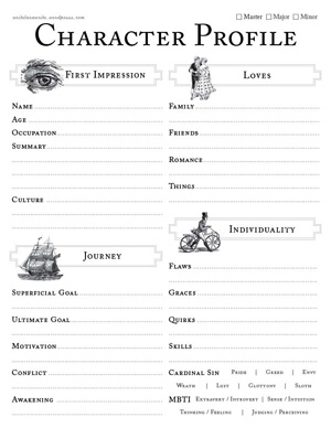 Fiction Writers Character Chart   Cure Writer's Block   Pinterest