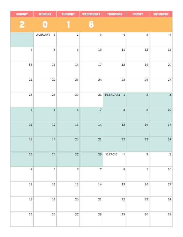 graphic about Printable Quarterly Calendar identify Printable 2018 Quarterly Calendar Lara Willard