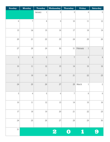 Quarterly Calendar Template 2019 Download] Printable 2019 Quarterly Calendar – Lara Willard