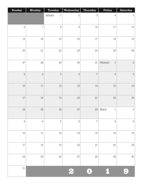 2019 Quarterly Calendar in Grayscale